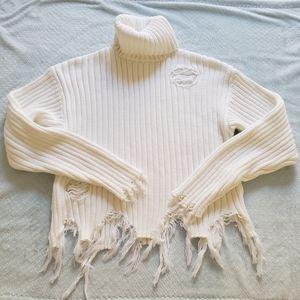 Forever 21 White Distressed Turtle Neck Sweater  S